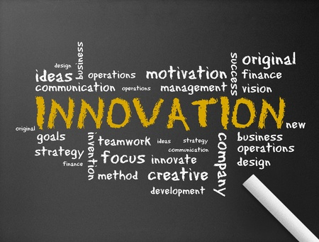 originality: Dark chalkboard with the word Innovation illustration.