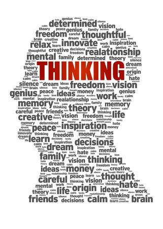 niños pensando: Jefe silueta ilustración con el pensamiento palabra.