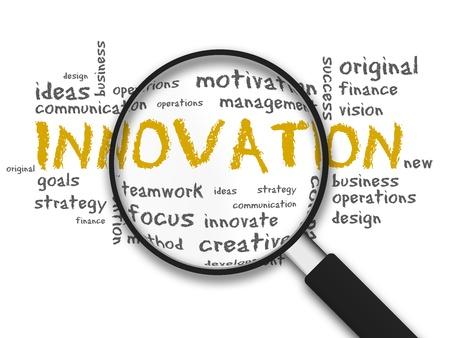 innoveren: Vergrootglas met innovatie woorden op een witte achtergrond