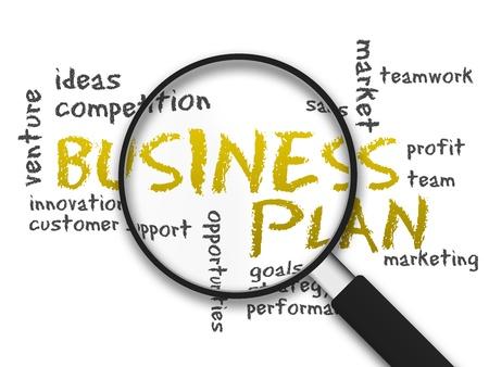 plan van aanpak: Vergrootglas met business plan illustratie op witte achtergrond Stockfoto