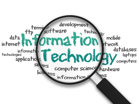 it technology: Magnifying Glass with information technology illustration on white background
