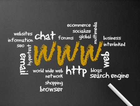 seo: Donker bord met een world wide web illustratie. Stockfoto