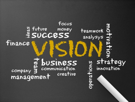 creative communication: Dark chalkboard with the word vision illustration.  Stock Photo