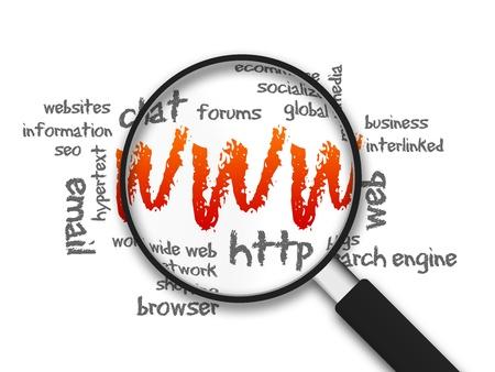 web commerce: Ingrandita con l'illustrazione WWW parola su sfondo bianco.