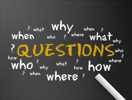 asking: Dark chalkboard with the word questions illustration.  Stock Photo