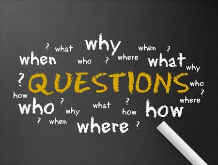 Fragezeichen: Dunkle Tafel mit dem Wort Fragen Illustration. Lizenzfreie Bilder