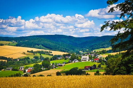 colorize: Countryside village surrounded by mountains, fields and forest.