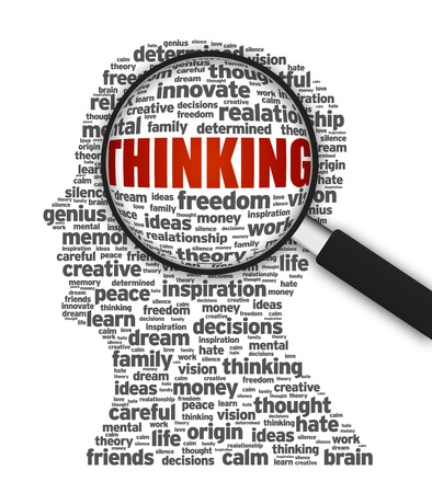 magnify: Magnified illustration of a silhouette with the word Thinking on white background. Stock Photo