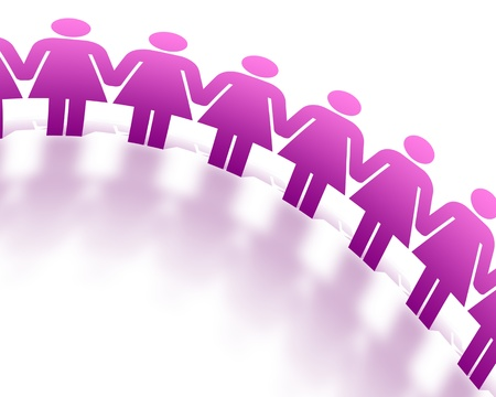 women': Pink Women figures holding hands on white background. Stock Photo