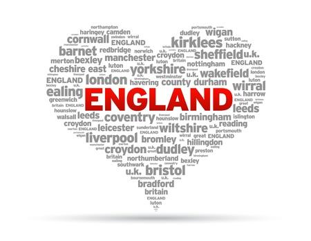 Ik houd van Engeland Illustratie op een witte achtergrond.