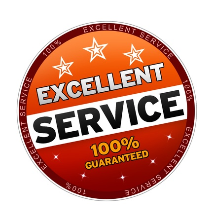 excellent: 100% Excellent Service Button on white background.