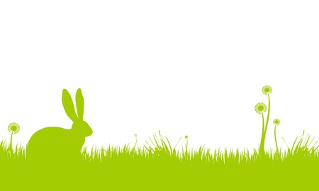festive occasions: Background of an Easter Bunny sitting in grass.