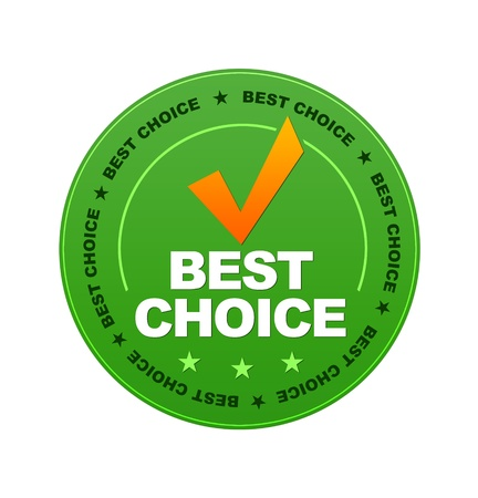 quality service: Green Best Choice Button on white background.