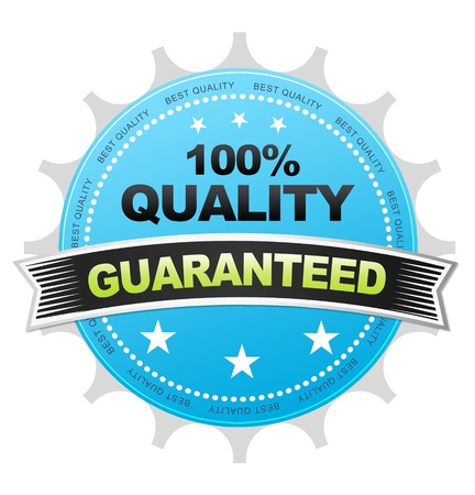 Blue 100& Quality Button on white background. Stock Photo - 12253083