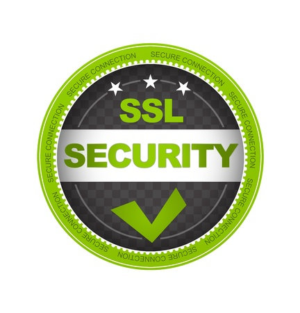 best quality: Green SSL Security Button on white background.