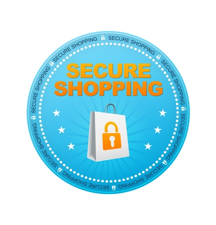 secure: Blue Secure Shopping Button on white background. Stock Photo