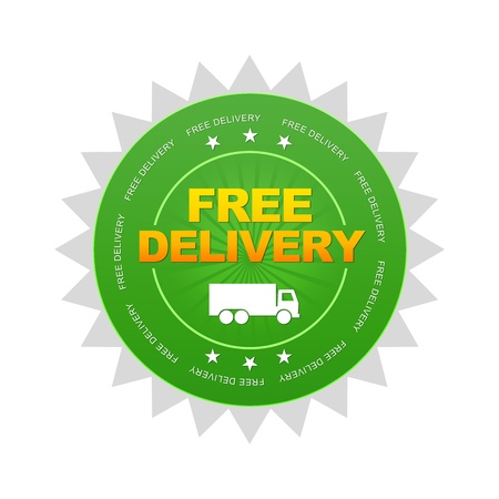 Green Free Delivery Button on white background.