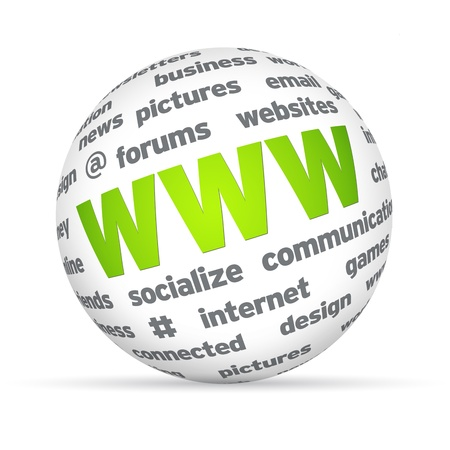 web marketing: Sphere with WWW and random words on white background. Stock Photo