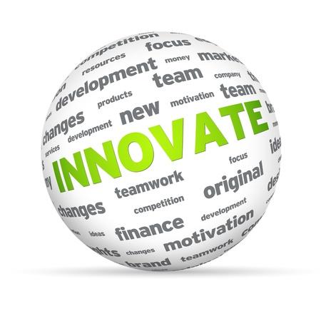 innoveren: Sphere met het woord innoveren op een witte achtergrond. Stockfoto