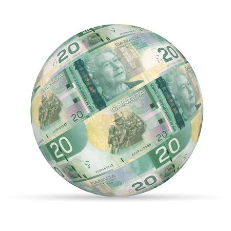 sphere: 20 Canadian Dollar Sphere on white background.