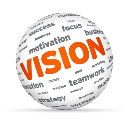 team vision: Sphere with the word vision on white background.  Stock Photo