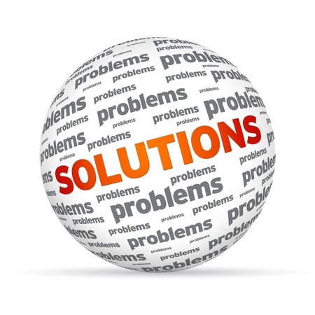 new solution: Spehere with the word Solutions on white background.