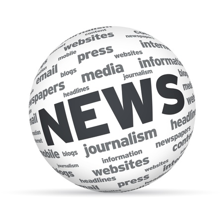 news letter: Spehere with the word News on white background. Stock Photo