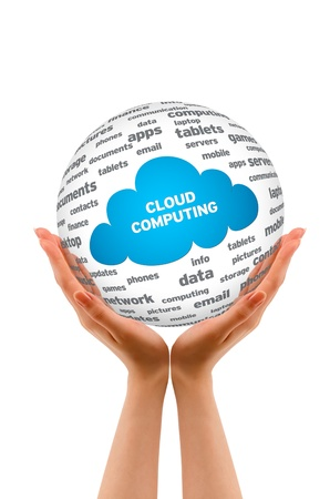 Hands holding a Cloud Computing Sphere sign on white background.