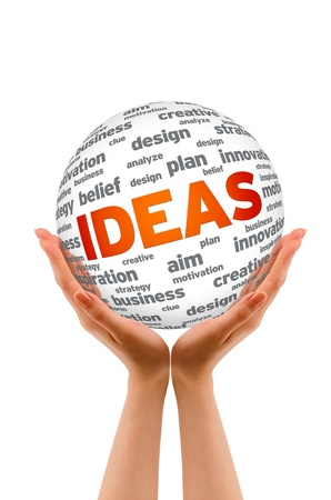 Hands holding a Ideas Sphere sign on white background.