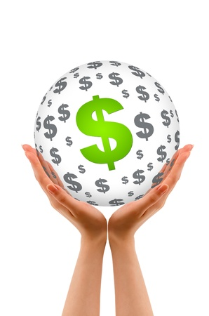 monies: Hands holding a Dollar Sphere sign on white background.