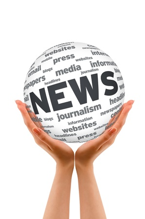 inform: Hands holding a News Sphere on white background. Stock Photo
