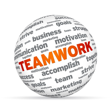 sphere: Spehere with the word Teamwork on white background.