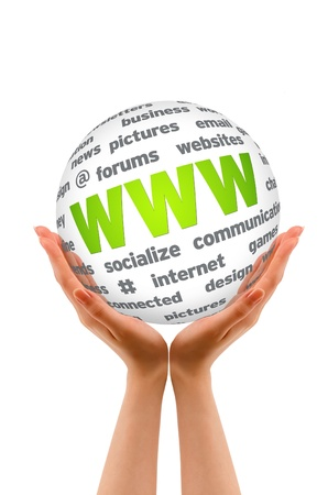 website words: Hands holding a WWW Sphere sign on white background. Stock Photo