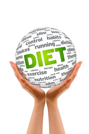 low calories: Hands holding a Diet Sphere sign on white background. Stock Photo