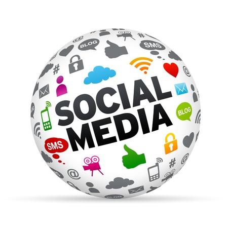 Network marketing: 3D Social esfera de los medios isoldated sobre fondo blanco.