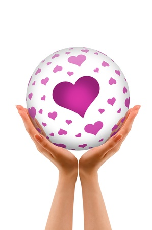 romatic: Hands holding a 3D Love Sphere with hearts on white background.