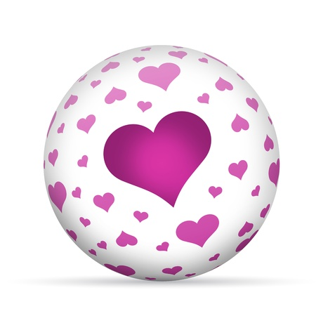 romatic: 3D Love sphere with hearts isoldated on white background.