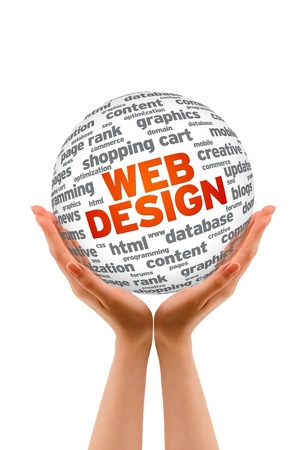 web: Hands holding a 3D Web Design  Sphere on white background.