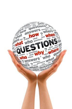 what: Hands holding a Questions Sphere sign on white background.