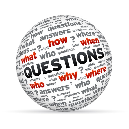 when: 3D Questions sphere isoldated on white background.