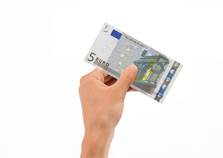 euro banknote: Hand Holding 5 Euro Bill isolated on white background.