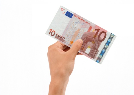 euro bill: Hand Holding 10 Euro Bill isolated on white background.  Stock Photo