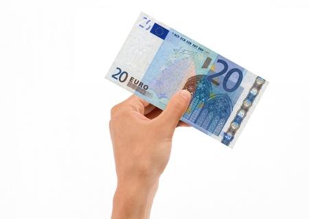 20 euro: Hand Holding 20 Euro Bill on white background. Stock Photo