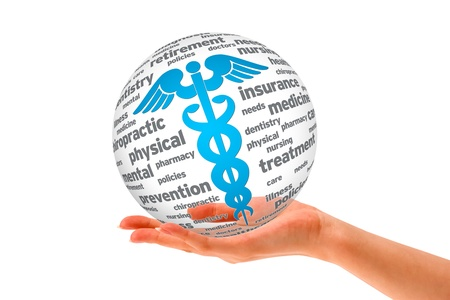 doctor money: Hand holding a Caduceus 3D Sphere sign on cloud background