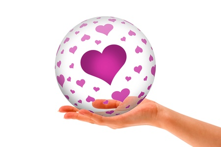 romatic: Hand holding a Love 3D Sphere with hearts on white background
