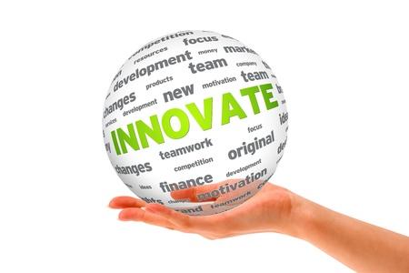 innoveren: Hand met een Innovate 3D Sphere teken op witte achtergrond.