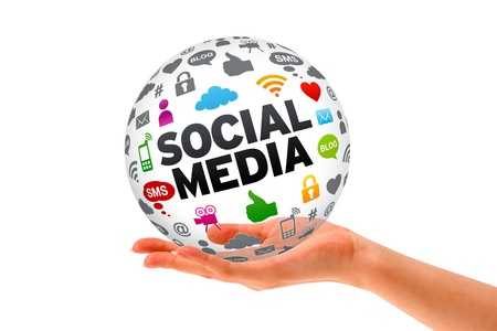 connection connections: Hand holding a Social Media 3d Sphere sign on white background. Stock Photo