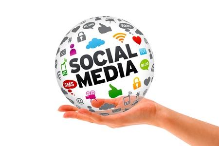 Une main tenant un signe Social Media Sphère 3d sur fond blanc. Banque d'images - 12413569