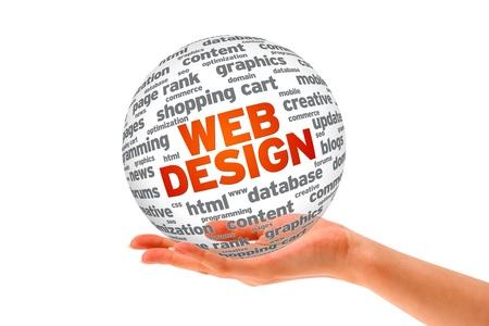 web commerce: Mano che regge una sfera di progettazione Web 3D su sfondo bianco.