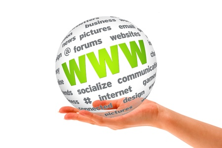 Hand holding a WWW 3D Sphere sign on white background. photo